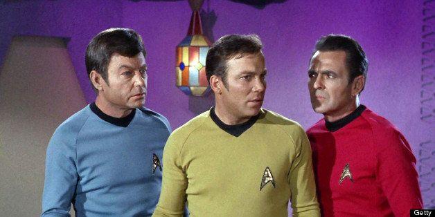 LOS ANGELES - SEPTEMBER 20: DeForest Kelley as Dr. Leonard 'Bones' McCoy, William Shatner as Captain James T. Kirk and James