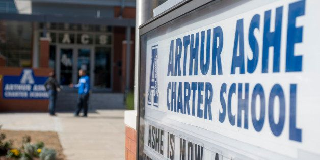 NEW ORLEANS, LA - January 31: The students and teachers exit the main entrance at the Arthur Ashe Charter School on January 3