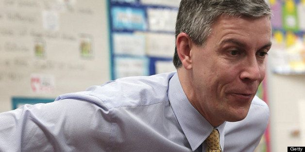 TAKOMA PARK, MD - MARCH 01:  Education Secretary Arne Duncan speaks to students after reading the Dr. Seuss book 'Green Eggs