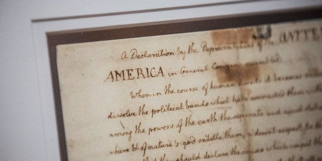 NEW YORK, NY - JULY 01:  A copy of The Declaration Of Independence is displayed at the New York Public Library on July 1, 201