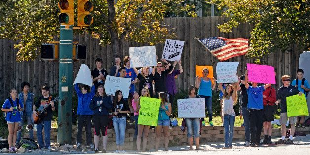 LITTLETON, CO - SEPTEMBER 24: Student walk-outs in Jefferson County continued for the third straight day after students from