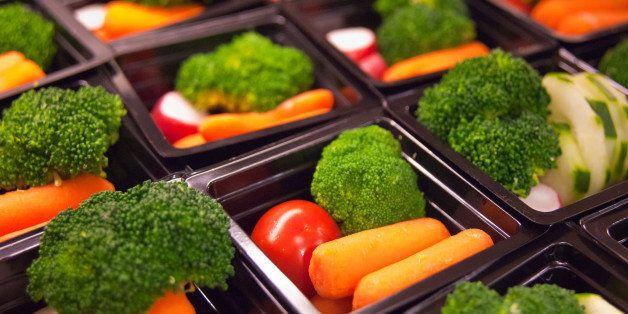 Fresh vegetable cups prepared for the National School Lunch Program at Washington-Lee High School in Arlington, Virginia, on