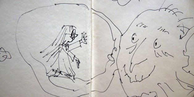 LONDON, ENGLAND - DECEMBER 04:  An annotated page from Roal Dahl's 'The BFG' by Quentin Blake is displayed at Sotheby's aucti