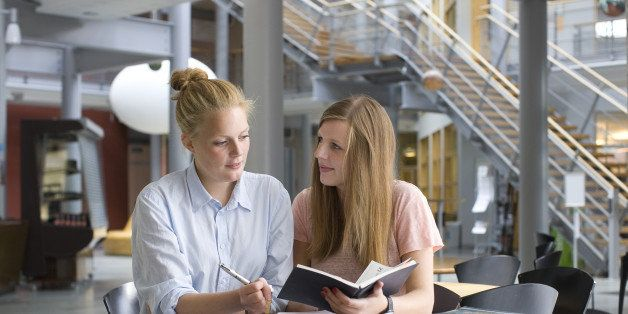 University students studying in cafe