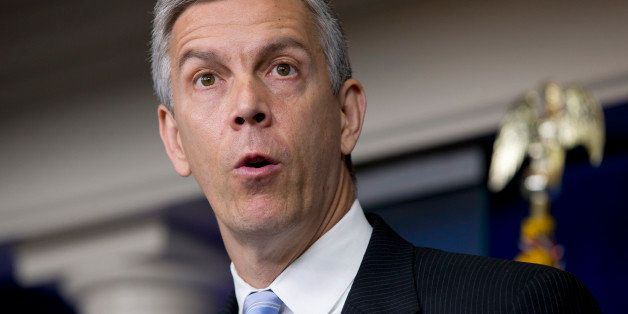 Education Secretary Arne Duncan speaks about education, Monday, July 7, 2014, during the daily briefing at the White House in