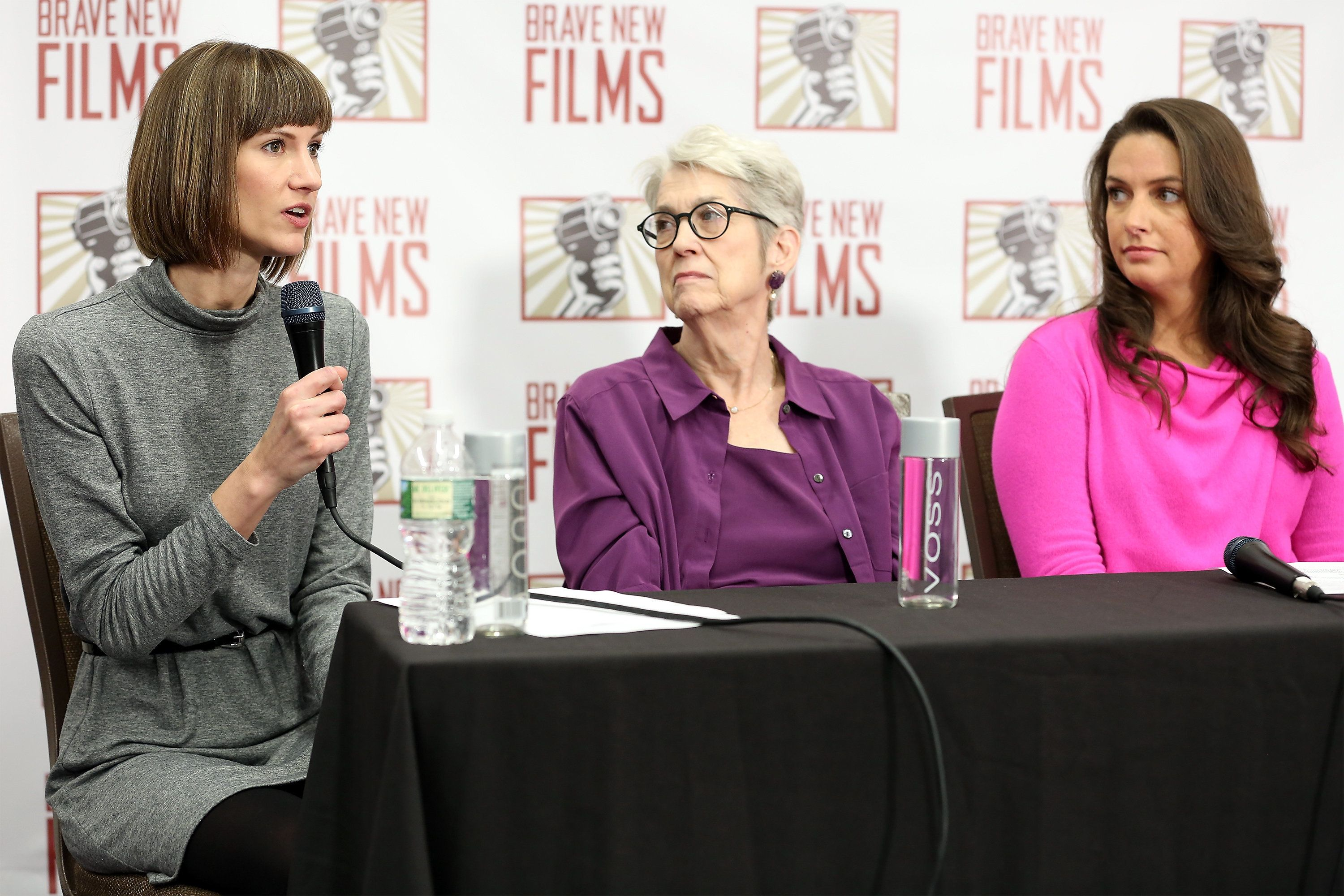 Rachel Crooks, Jessica Leeds, and Samantha Holvey speak during the press conference held by women accusing Trump of sexual ha