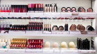 Variety of stylish, fashionable, diverse, colorful assortment of modern cosmetics store