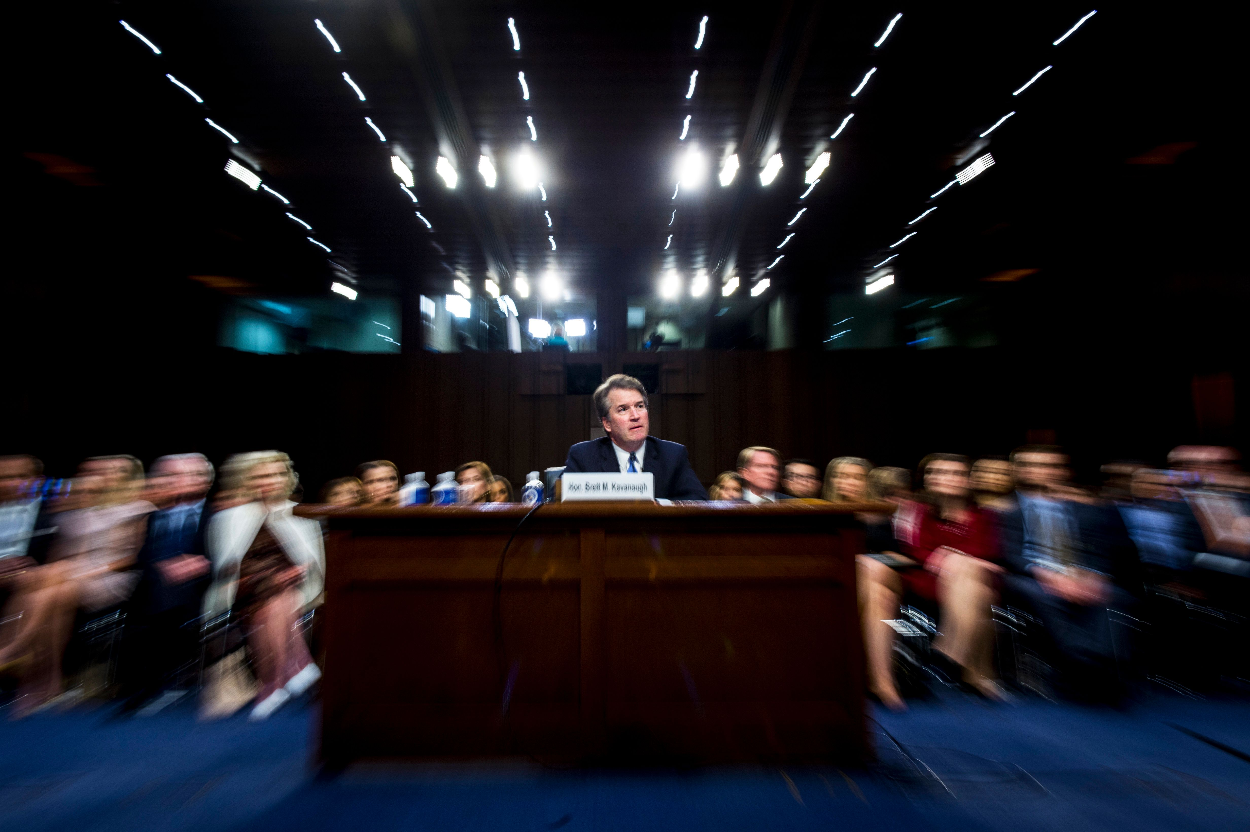 Supreme Court nominee Brett Kavanaugh testifies before the Senate Judiciary Committee on Sept. 6, when his pathway looked cle