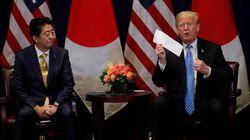 트럼프가 아베신조 앞에서 문재인에 감사를