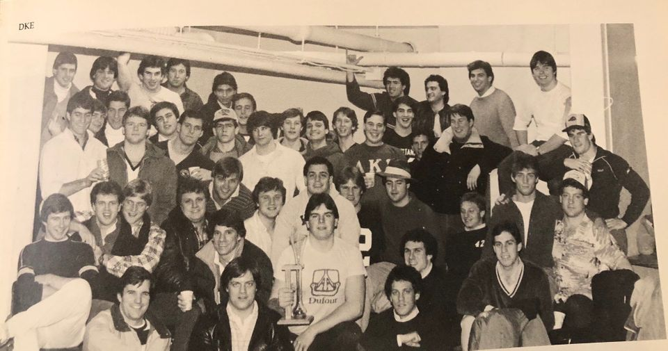 The Delta Kappa Epsilon fraternity photo from the 1984 Yale Banner yearbook.