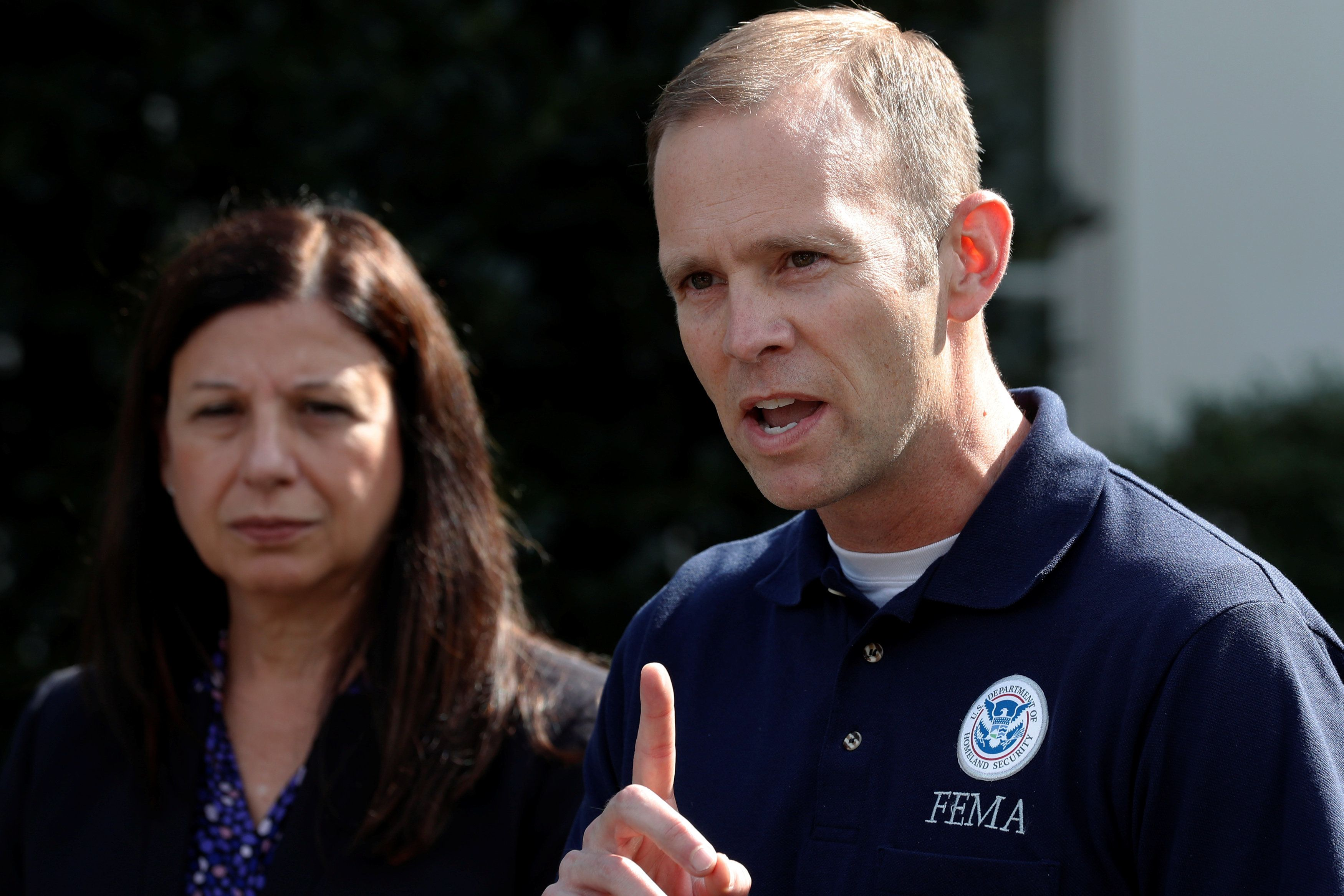 U.S. acting Secretary of Homeland Security Elaine Duke and Federal Emergency Management Agency (FEMA) Administrator Brock Long speak to reporters about Hurricane Maria relief efforts after meeting at the White House in Washington, U.S. September 26, 2017.  REUTERS/Jonathan Ernst