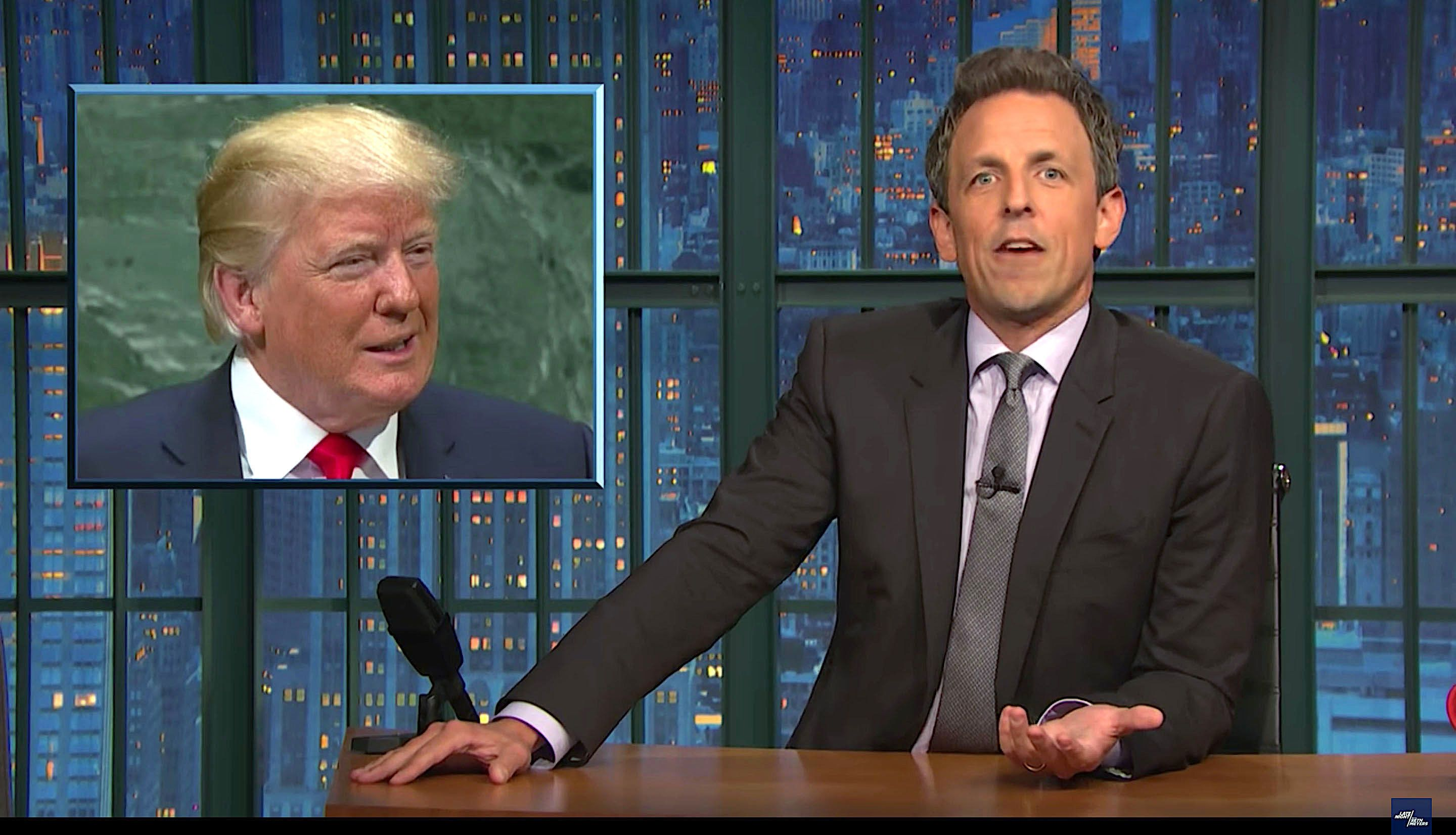 Seth Meyers of Late Night rips President Donald Trump for his UN speech and news conference