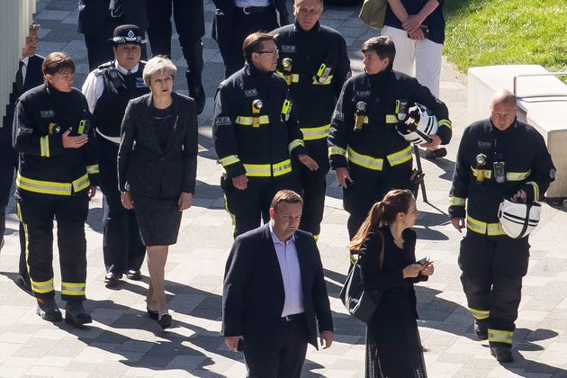 Theresa May visited the Grenfell Tower site after the