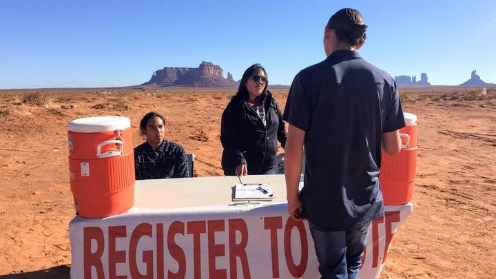 Delaney After Buffalo, left, and Tara Benally register Shaye Holiday to vote in Monument Valley, Utah. Native Americans here