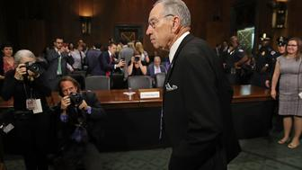WASHINGTON, DC - SEPTEMBER 27:  Senate Judiciary Committee Chairman Charles Grassley (R-IA) arrives in the hearing room where Christine Blasey Ford will testify in the Dirksen Senate Office Building on Capitol Hill September 27, 2018 in Washington, DC. A professor at Palo Alto University and a research psychologist at the Stanford University School of Medicine, Ford has accused Supreme Court nominee Judge Brett Kavanaugh of sexually assaulting her during a party in 1982 when they were high school students in suburban Maryland.  (Photo by Win McNamee/Getty Images)