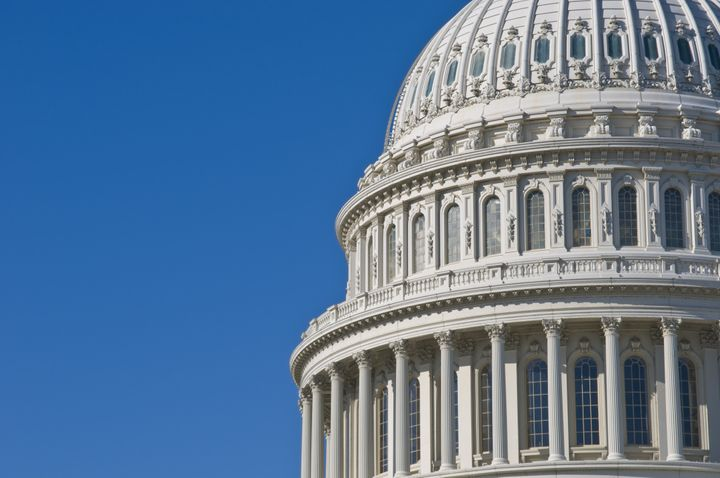 Detail of the United States Capitol Building in Washington DC with plenty of copy space