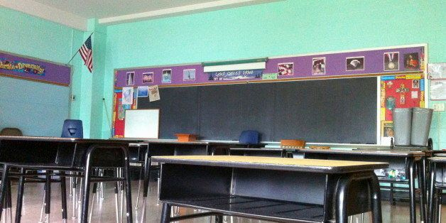 Empty Classroom In Elementary School. (Photo By: Education Images/UIG via Getty Images)