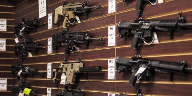 MARYLAND, USA - OCTOBER 6: Assorted high powered rifles for sale at Maryland Small Arms Range in Maryland, USA on October 6,