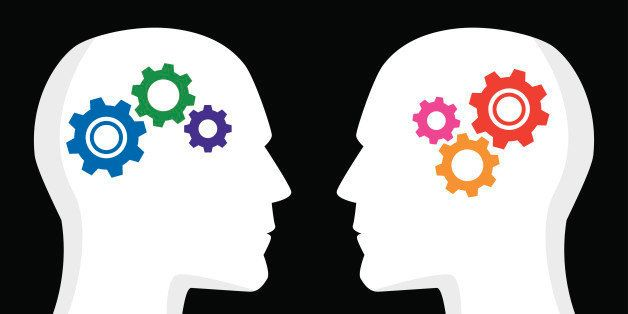 Vector illustration of two profiles with gears inside their heads. One has cool / blue colored gears, the other has hot / red
