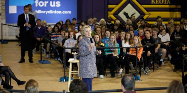 Democratic presidential candidate Hillary Clinton speaks during a town hall meeting at Keota High School, Tuesday, Dec. 22, 2