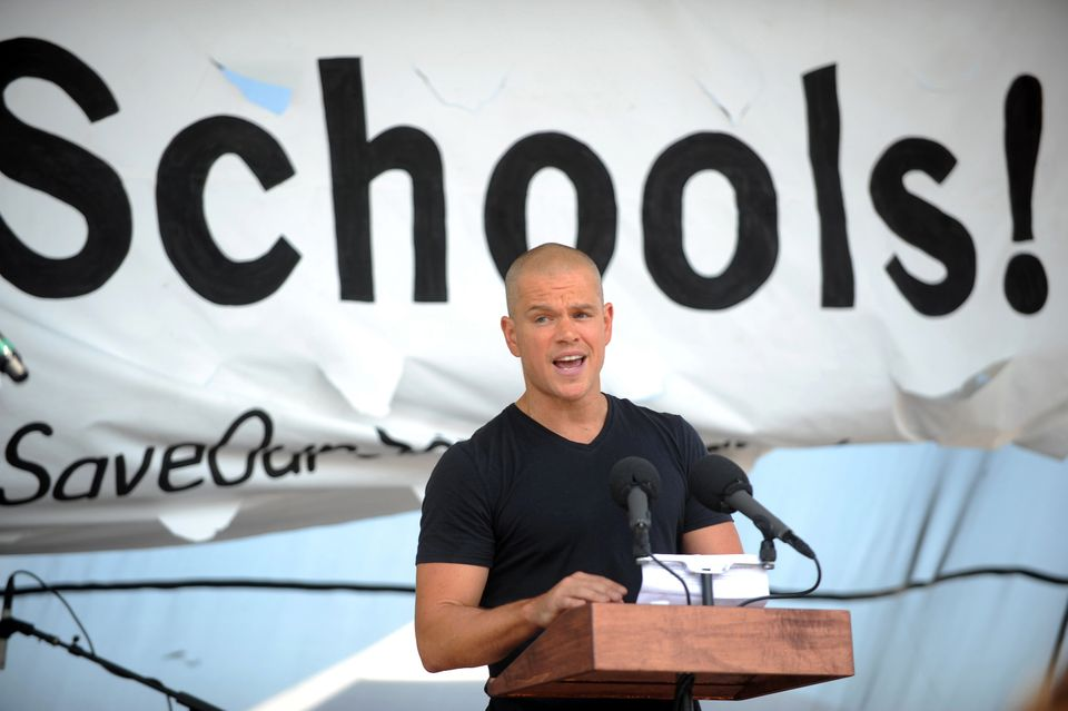 Matt Damon speaks to protesters during the Save Our Schools event in Washington D.C. Teachers from all over the United States