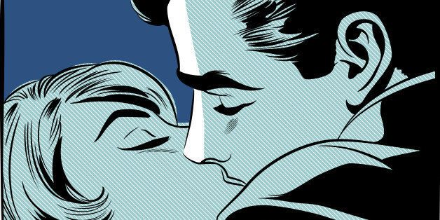 A retro comic style illustration of a couple kissing