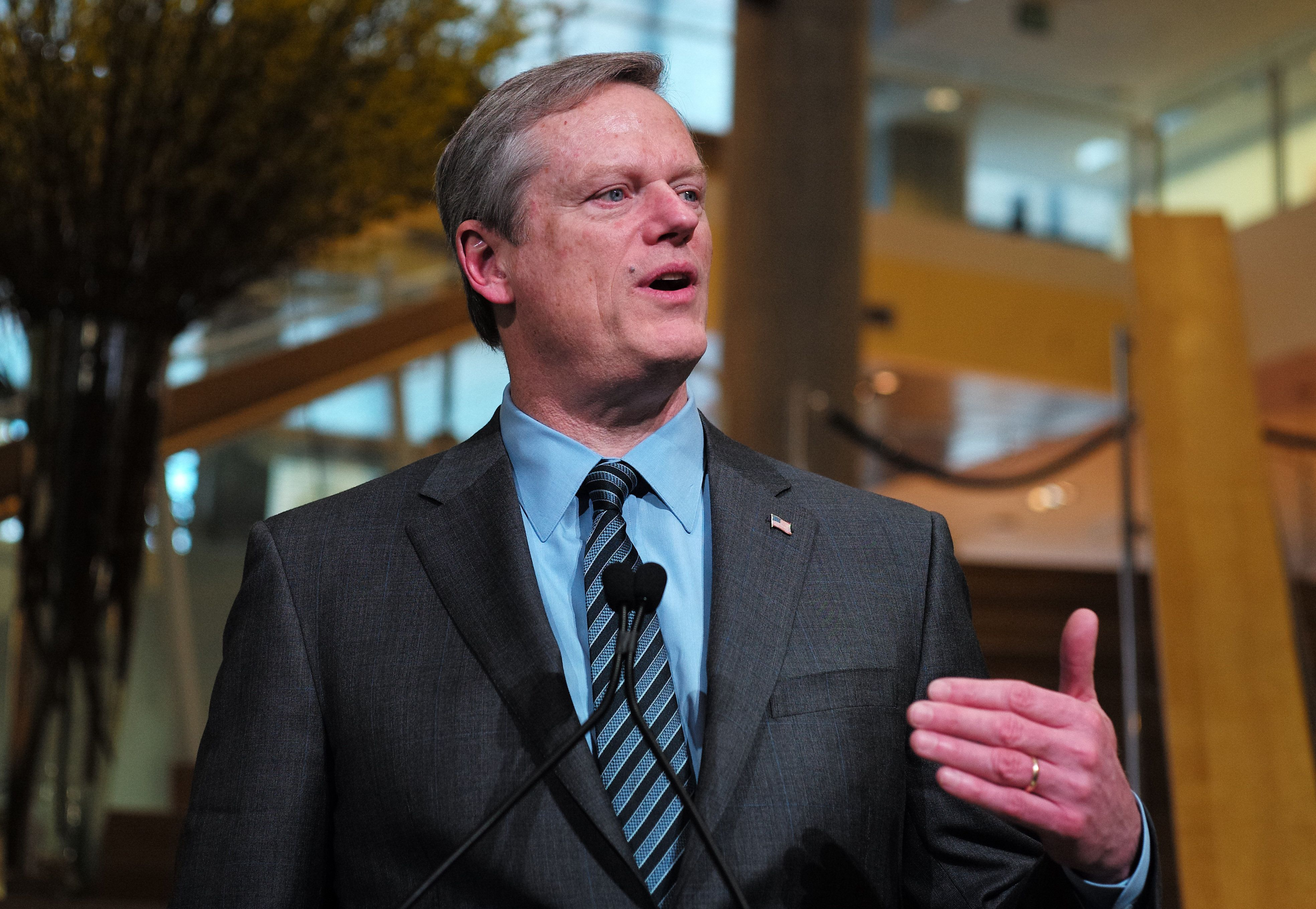 CAMBRIDGE , MA - FEBRUARY 28: Massachusetts Governor Charlie Baker delivers remarks during a tribute to biotechnology executive Henri A. Termeer in Cambridge, MA on Feb. 28, 2018. Termeer, who led Genzyme from 1983 to 2011 and died suddenly last May at the age of 71, was honored when Kendall Squares North Plaza was officially renamed Henri A. Termeer Square. (Photo by Jonathan Wiggs/The Boston Globe via Getty Images)
