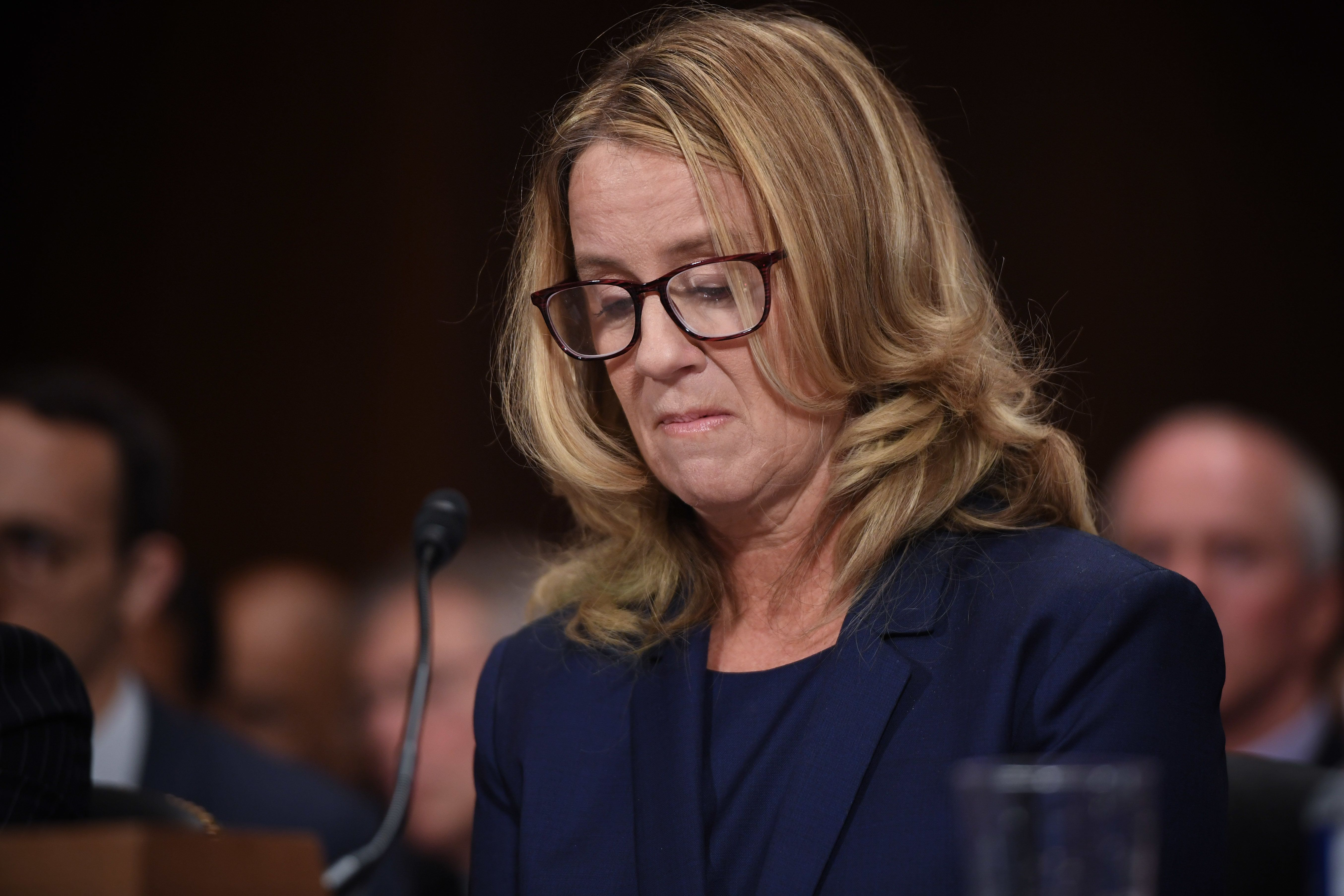 WASHINGTON, DC - SEPTEMBER 27: Christine Blasey Ford, testifies before the US Senate Judiciary Committee in the Dirksen Senate Office Building on Capitol Hill September 27, 2018 in Washington, DC. A professor at Palo Alto University and a research psychologist at the Stanford University School of Medicine, Ford has accused Supreme Court nominee Judge Brett Kavanaugh of sexually assaulting her during a party in 1982 when they were high school students in suburban Maryland.  (Photo by Saul Loeb-Pool/Getty Images)