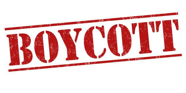 Boycott grunge rubber stamp on white background