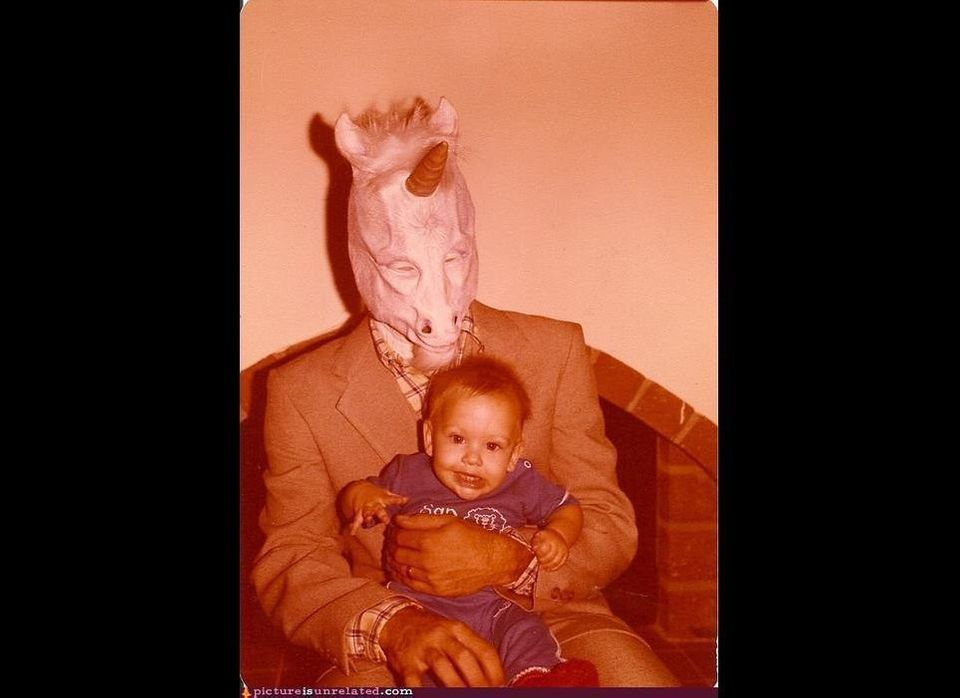 "What better way to spend a baby's Halloween than by scaring the crap out of him? (via <a href=""http://pictureisunrelated.com/"