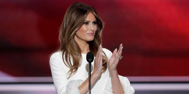 Melania Trump, wife of Republican Presidential Candidate Donald Trump, applauds as she recognizes veterans during the opening