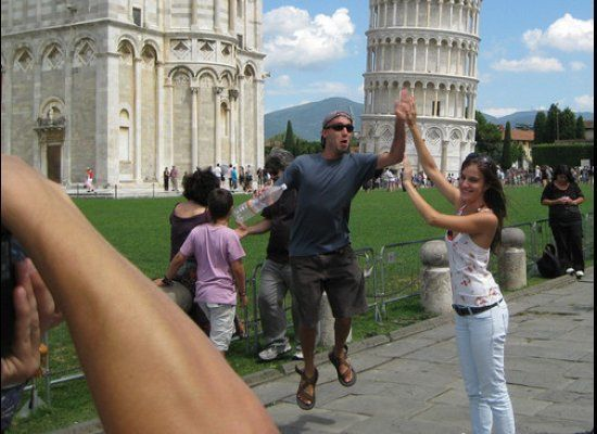 """Leaning Tower of Pisa high five! (Via <a href=""""http://thedailywh.at/post/959549158/photobomb-of-the-day-redditor-el-duderino-"""