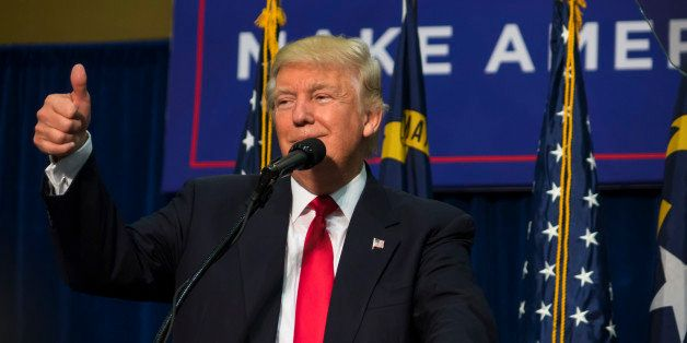 Asheville, NC, USA - September 12, 2016: Donald J Trump a 2016 U.S. Republican presidential candidate speaks to a crowd of re