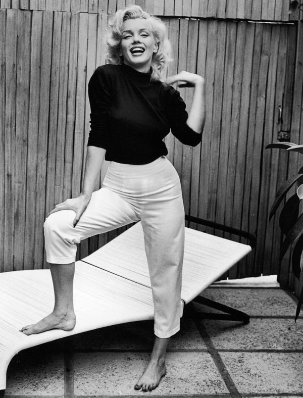 Monroe in a casual ensemble at home in 1953.