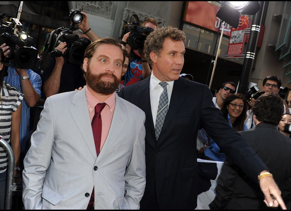 HOLLYWOOD, CA - AUGUST 02:  Actors Zach Galifianakis (L) and Will Ferrell arrive at the premiere of Warner Bros. Pictures' 'T
