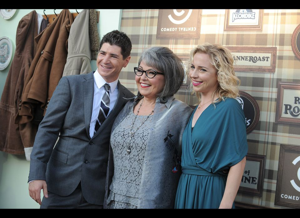 Actors, from left to right, Michael Fishman, Roseanne Barr and Alicia Goranson attend the Comedy Central Roast of Roseanne at