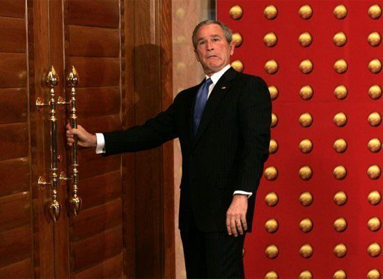 In 2005, after a brief press conference in Beijing, China, President Bush tried to make a hasty exit from the stage. Unfortun