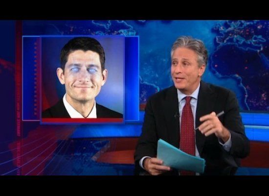 Jon Stewart wanted to focus on the serious issues Paul Ryan brought to the presidential race, but he just couldn't help getti