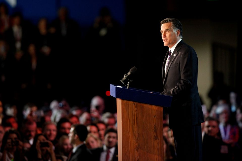 Republican presidential candidate, Mitt Romney, speaks at the podium as he concedes the presidency on November 7, 2012 in Bos