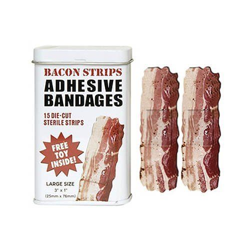 """Perfect for the bacon fan who falls down a lot.   <a href=""""http://www.amazon.com/BACON-shaped-themed-Adhesive-Bandages/dp/B00"""