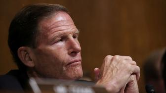 Senate Judiciary Committee member Sen. Richard Blumenthal (D-CT) listens to testimony from Christine Blasey Ford in the Dirksen Senate Office Building on Capitol Hill in Washington, DC, U.S., September 27, 2018. Win McNamee/Pool via REUTERS