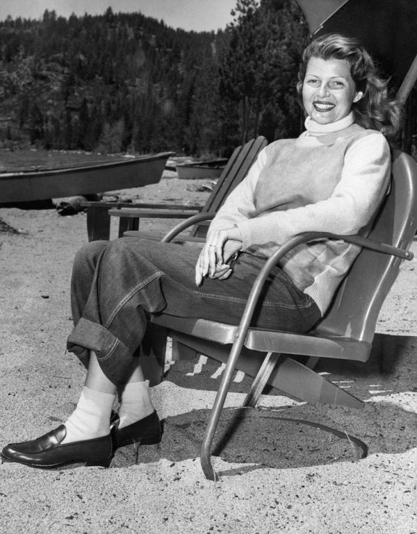 Hayworth sits on a lawn chair at her lakefront home in Glenbrook, Nevada, in this undated photo.