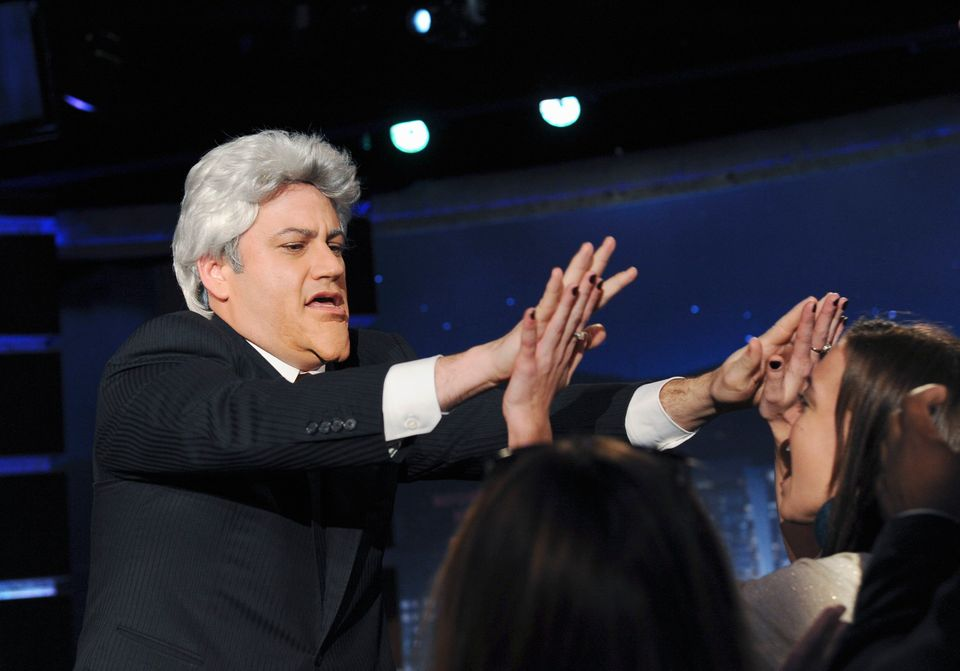 "In this publicity image released by ABC, Jimmy Kimmel is dressed as late night host Jay Leno during ""Jimmy Kimmel Live"" on Tu"
