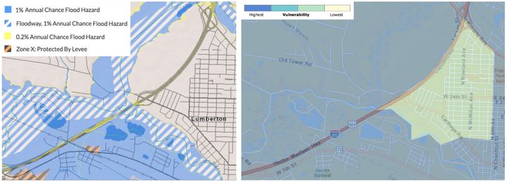 The flood hazard map (left) shows which parts of Lumberton are most vulnerable to flooding. The social vulnerability map (rig