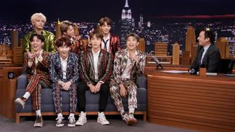 THE TONIGHT SHOW STARRING JIMMY FALLON -- Episode 0931 -- Pictured: (l-r) Band BTS during an interview with host Jimmy Fallon on September 25, 2018 -- (Photo by: Andrew Lipovsky/NBC/NBCU Photo Bank via Getty Images)