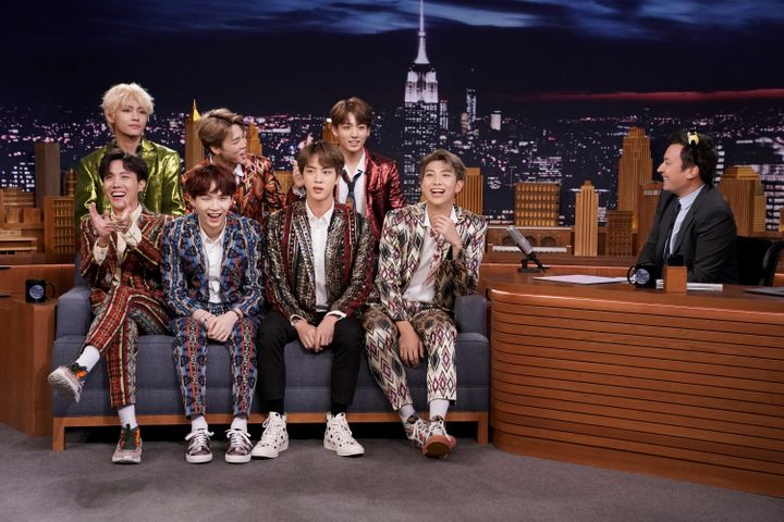Band BTS during an interview with host Jimmy Fallon on Sept. 25, 2018.