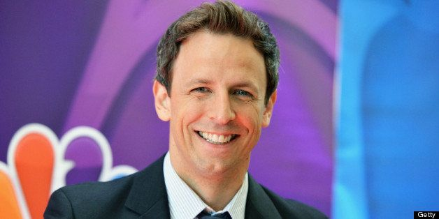 NEW YORK, NY - MAY 13: Actor Seth Meyers attends 2013 NBC Upfront Presentation Red Carpet Event at Radio City Music Hall on M