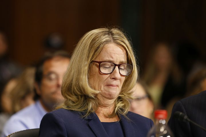 Christine Blasey Ford, overcome with emotion, gives her testimony before the Senate Judiciary Committee on Thursday.
