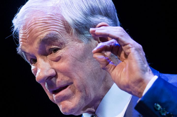 Former US Representative Ron Paul (R-TX) speaks at George Washington University March 4, 2013 in Washington, DC. Paul spoke a