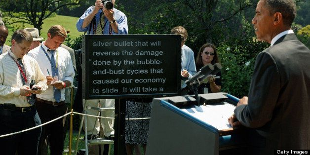 WASHINGTON - AUGUST 30:  U.S. President Barack Obama delivers remarks from a teleprompter to the press after his daily econom